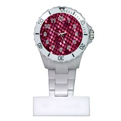 Red Circular Pattern Background Plastic Nurses Watch