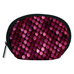 Red Circular Pattern Background Accessory Pouches (medium)
