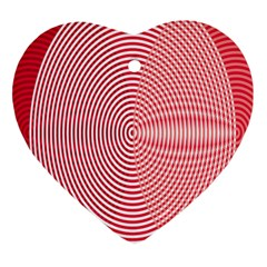 Circle Line Red Pink White Wave Ornament (Heart)