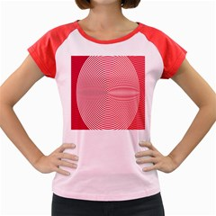 Circle Line Red Pink White Wave Women s Cap Sleeve T-Shirt