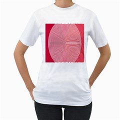 Circle Line Red Pink White Wave Women s T-Shirt (White) (Two Sided)