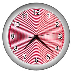 Circle Line Red Pink White Wave Wall Clocks (Silver)