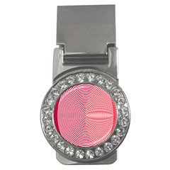 Circle Line Red Pink White Wave Money Clips (CZ)