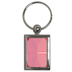 Circle Line Red Pink White Wave Key Chains (Rectangle)