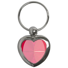 Circle Line Red Pink White Wave Key Chains (Heart)