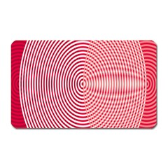 Circle Line Red Pink White Wave Magnet (rectangular)
