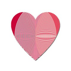 Circle Line Red Pink White Wave Heart Magnet