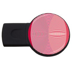 Circle Line Red Pink White Wave USB Flash Drive Round (1 GB)