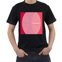 Circle Line Red Pink White Wave Men s T-Shirt (Black) (Two Sided)