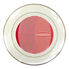 Circle Line Red Pink White Wave Porcelain Plates