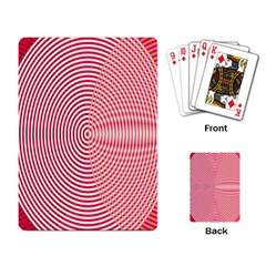 Circle Line Red Pink White Wave Playing Card