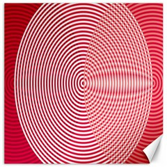 Circle Line Red Pink White Wave Canvas 12  x 12