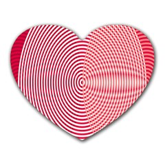 Circle Line Red Pink White Wave Heart Mousepads