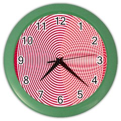 Circle Line Red Pink White Wave Color Wall Clocks