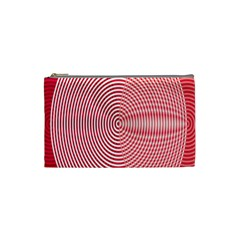 Circle Line Red Pink White Wave Cosmetic Bag (Small)