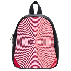 Circle Line Red Pink White Wave School Bags (small)