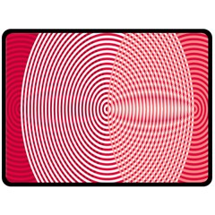 Circle Line Red Pink White Wave Fleece Blanket (Large)