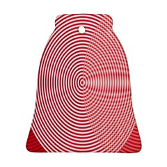 Circle Line Red Pink White Wave Ornament (Bell)