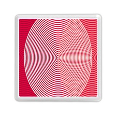 Circle Line Red Pink White Wave Memory Card Reader (Square)