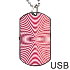 Circle Line Red Pink White Wave Dog Tag USB Flash (One Side)