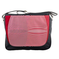 Circle Line Red Pink White Wave Messenger Bags