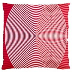 Circle Line Red Pink White Wave Large Cushion Case (Two Sides)