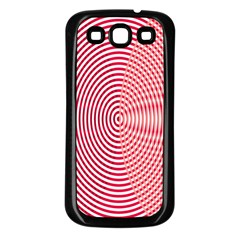 Circle Line Red Pink White Wave Samsung Galaxy S3 Back Case (Black)