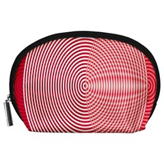 Circle Line Red Pink White Wave Accessory Pouches (Large)