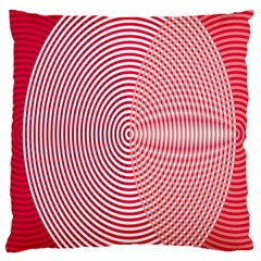 Circle Line Red Pink White Wave Large Flano Cushion Case (Two Sides)