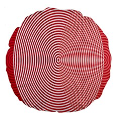 Circle Line Red Pink White Wave Large 18  Premium Flano Round Cushions