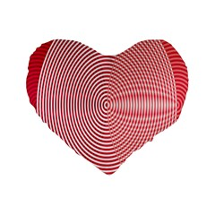 Circle Line Red Pink White Wave Standard 16  Premium Flano Heart Shape Cushions
