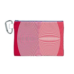 Circle Line Red Pink White Wave Canvas Cosmetic Bag (M)
