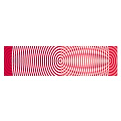 Circle Line Red Pink White Wave Satin Scarf (Oblong)