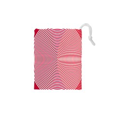 Circle Line Red Pink White Wave Drawstring Pouches (xs)