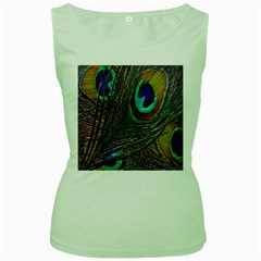 Peacock Feathers Women s Green Tank Top