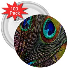 Peacock Feathers 3  Buttons (100 Pack)
