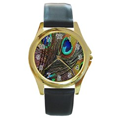 Peacock Feathers Round Gold Metal Watch