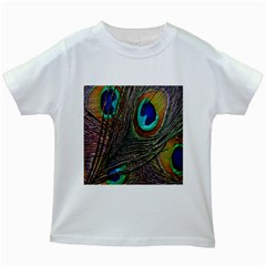 Peacock Feathers Kids White T-Shirts