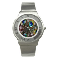 Peacock Feathers Stainless Steel Watch