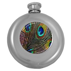 Peacock Feathers Round Hip Flask (5 oz)
