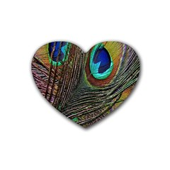 Peacock Feathers Rubber Coaster (Heart)
