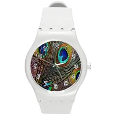 Peacock Feathers Round Plastic Sport Watch (M)