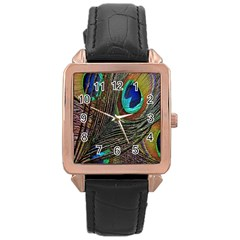 Peacock Feathers Rose Gold Leather Watch
