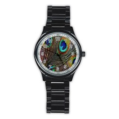Peacock Feathers Stainless Steel Round Watch