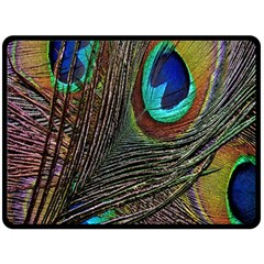Peacock Feathers Double Sided Fleece Blanket (Large)