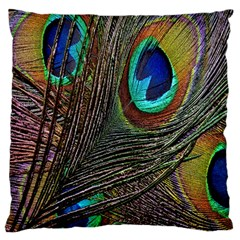 Peacock Feathers Large Flano Cushion Case (one Side)