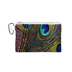 Peacock Feathers Canvas Cosmetic Bag (S)