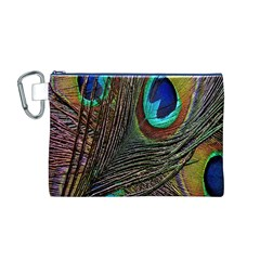 Peacock Feathers Canvas Cosmetic Bag (M)