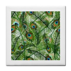 Peacock Feathers Pattern Tile Coasters