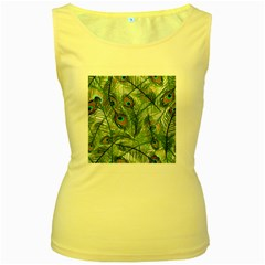 Peacock Feathers Pattern Women s Yellow Tank Top